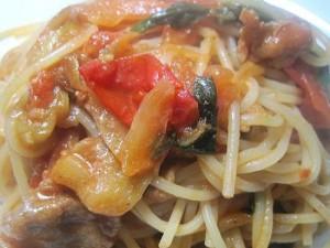 豚肉と菜の花のトマト