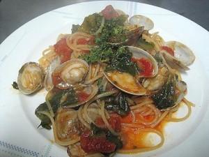 アサリと菜の花のトマト