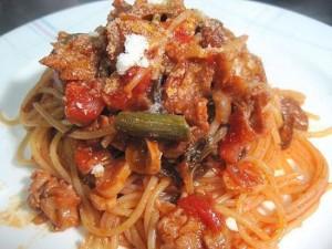 豚肉と山菜のトマトソース