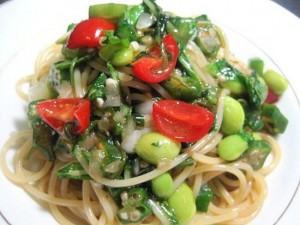 ネバネバ野菜(オクラ・モロヘイヤ・メカブ)の冷製