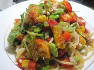 たっぷり野菜の冷製スパゲッティ